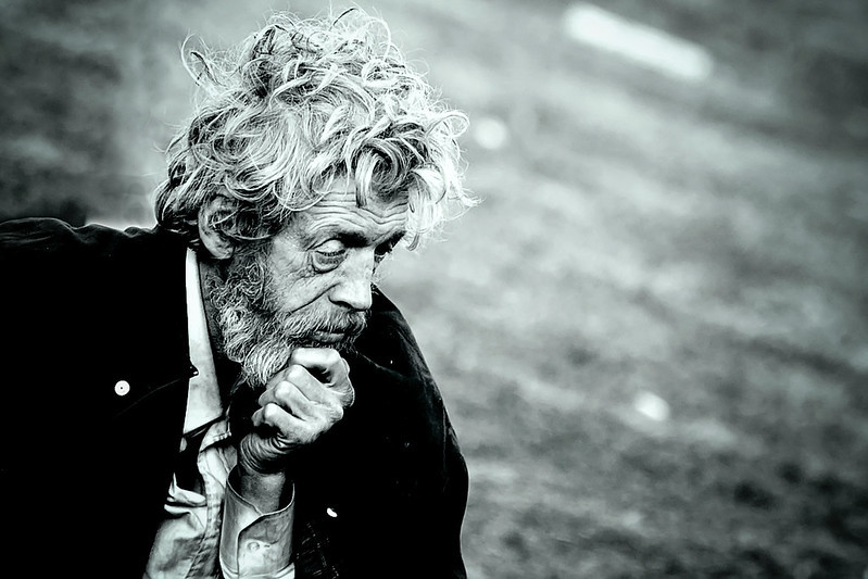an old man thinking
