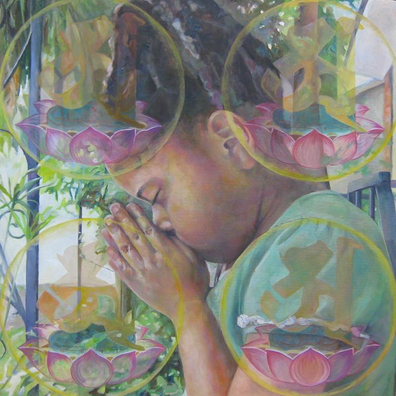 young girl meditating