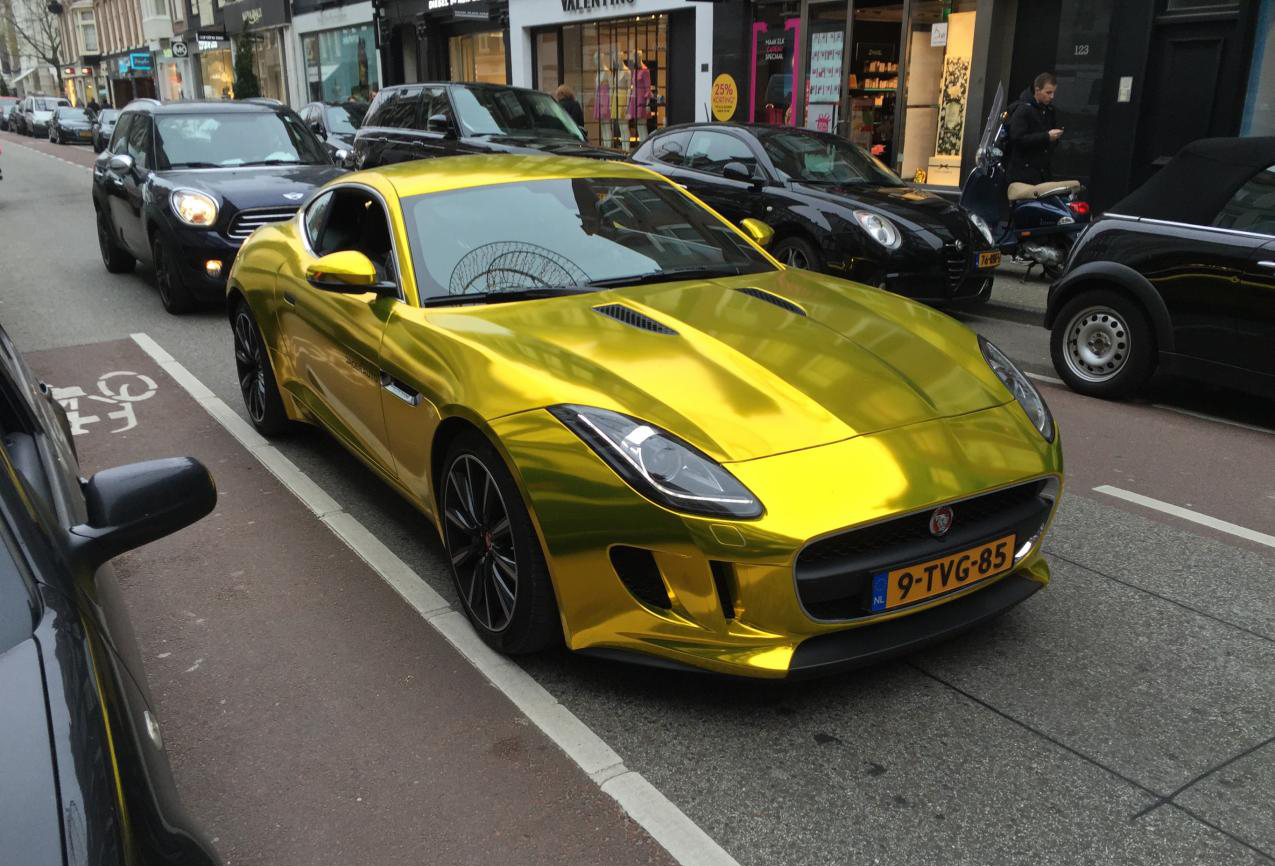 Gold Chrome Jaguar F-Type Vinyl Wrap