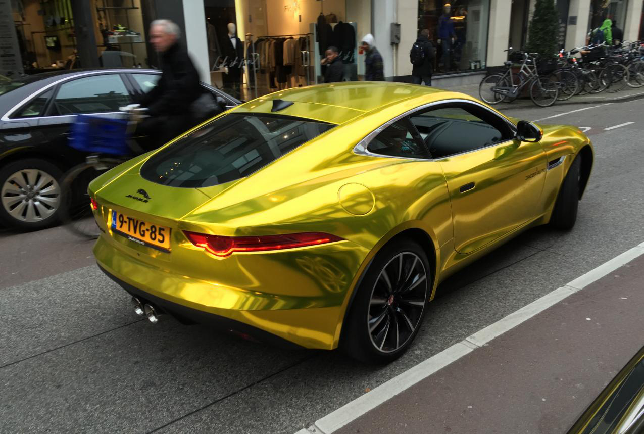 vvivid xpo gold chrome supercast jaguar F-Type wrap vinyl 18