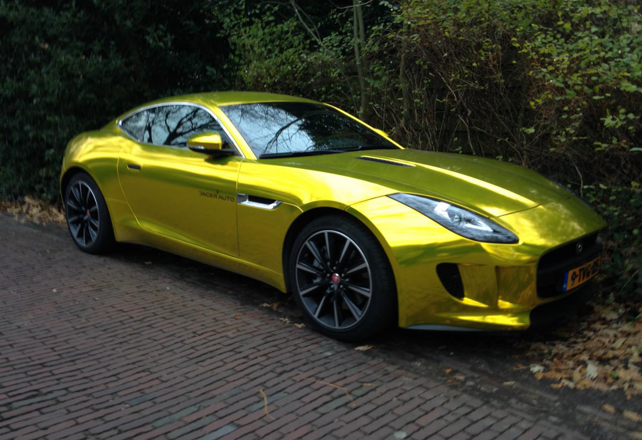 vvivid xpo gold chrome supercast jaguar F-Type wrap vinyl 13