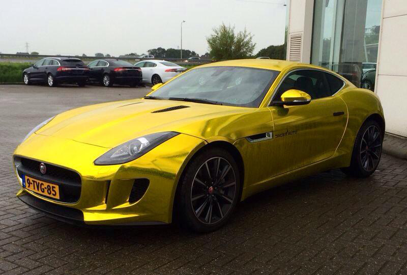 vvivid xpo gold chrome supercast jaguar F-Type wrap vinyl 19