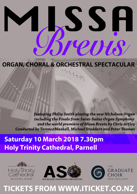 World premiere of Chris Artley's 'Missa Brevis' for Choir, Orchestra and Organ, to be gi