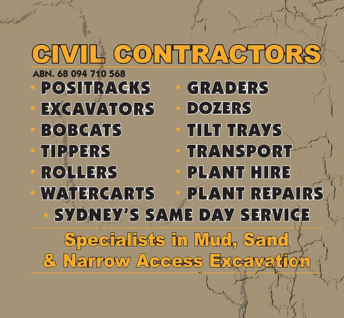 Civil Contractors - Positracks - Excavators - Bobcats - Tippers - Rollers - Watercarts - Graders - Dozers - Tilt Trays - Transport - Plant Hire - Plant Repairs - For Hire In Sydney