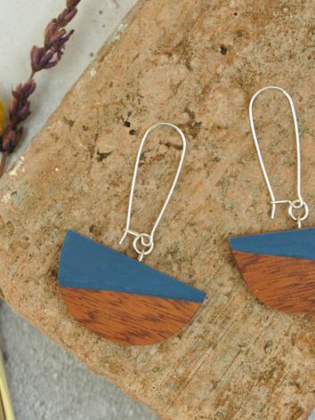 Wooden Dome Earrings