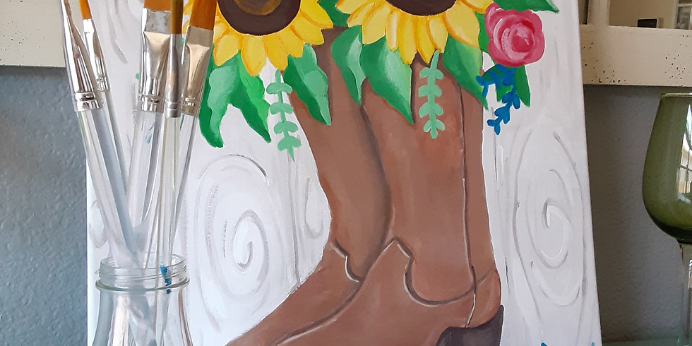 Cowboy boots and flowers