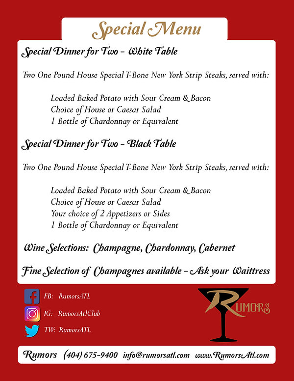 Rumors Service Offerings / Special Menu