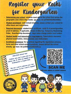 Register your Keiki for Kindergarten
