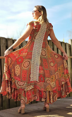 Bohemian jurk koraal