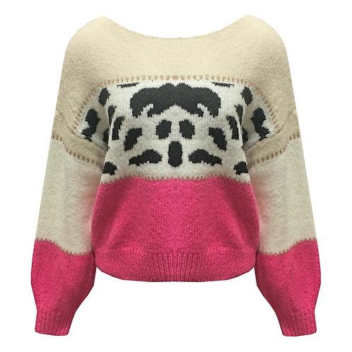 Trui leopard pink