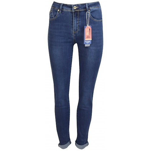 Push up jeans blauw