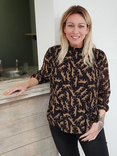 Plisse blouse panter