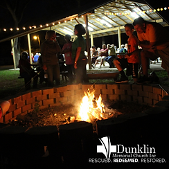 A picture of a campfire at Dunklin during homecoming.