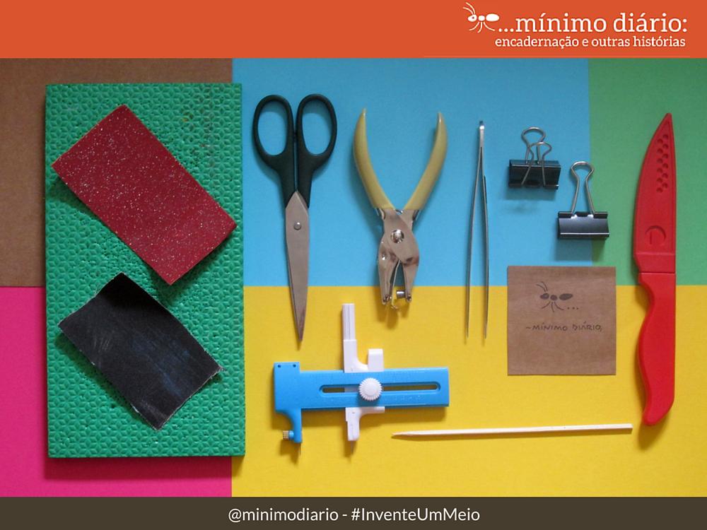 Materias para encadernação artesanal - ferramentas extras :mínimo diário #InventeUmMeio