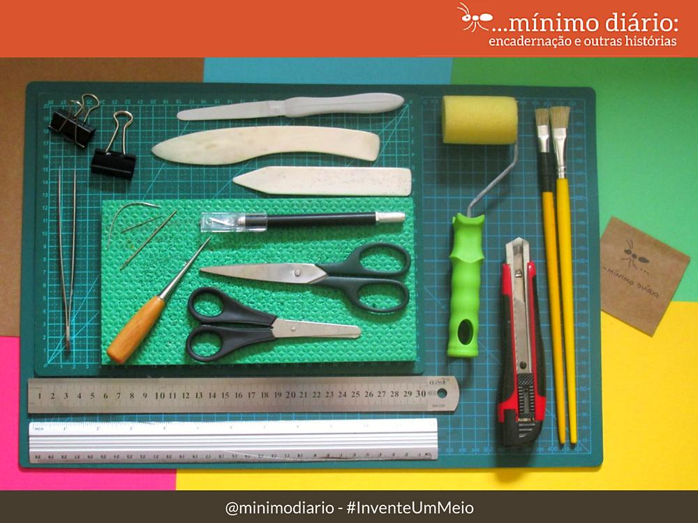 Materias para encadernação artesanal - ferramentas :mínimo diário #InventeUmMeio
