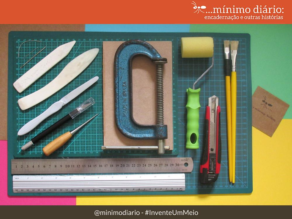 Materias para encadernação artesanal - ferramentas essenciais :mínimo diário #InventeUmMeio