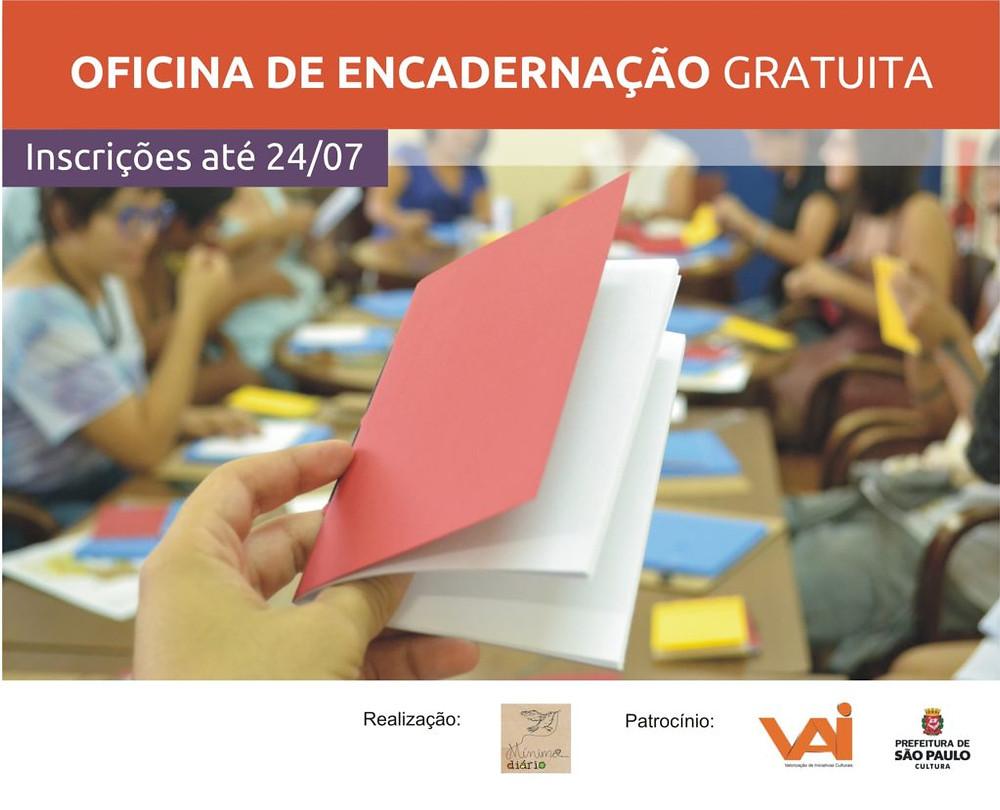 convite oficina de encadernação gratuita. inscrições até 24 de julho de 2016. Espaço Comunidade - Jardim Monte Azul.