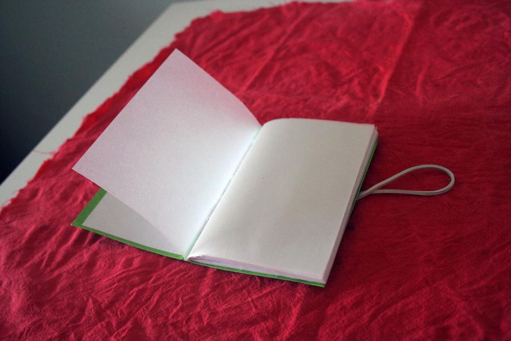 Livro pequenino vegetal, com miolo em papel vegetal.