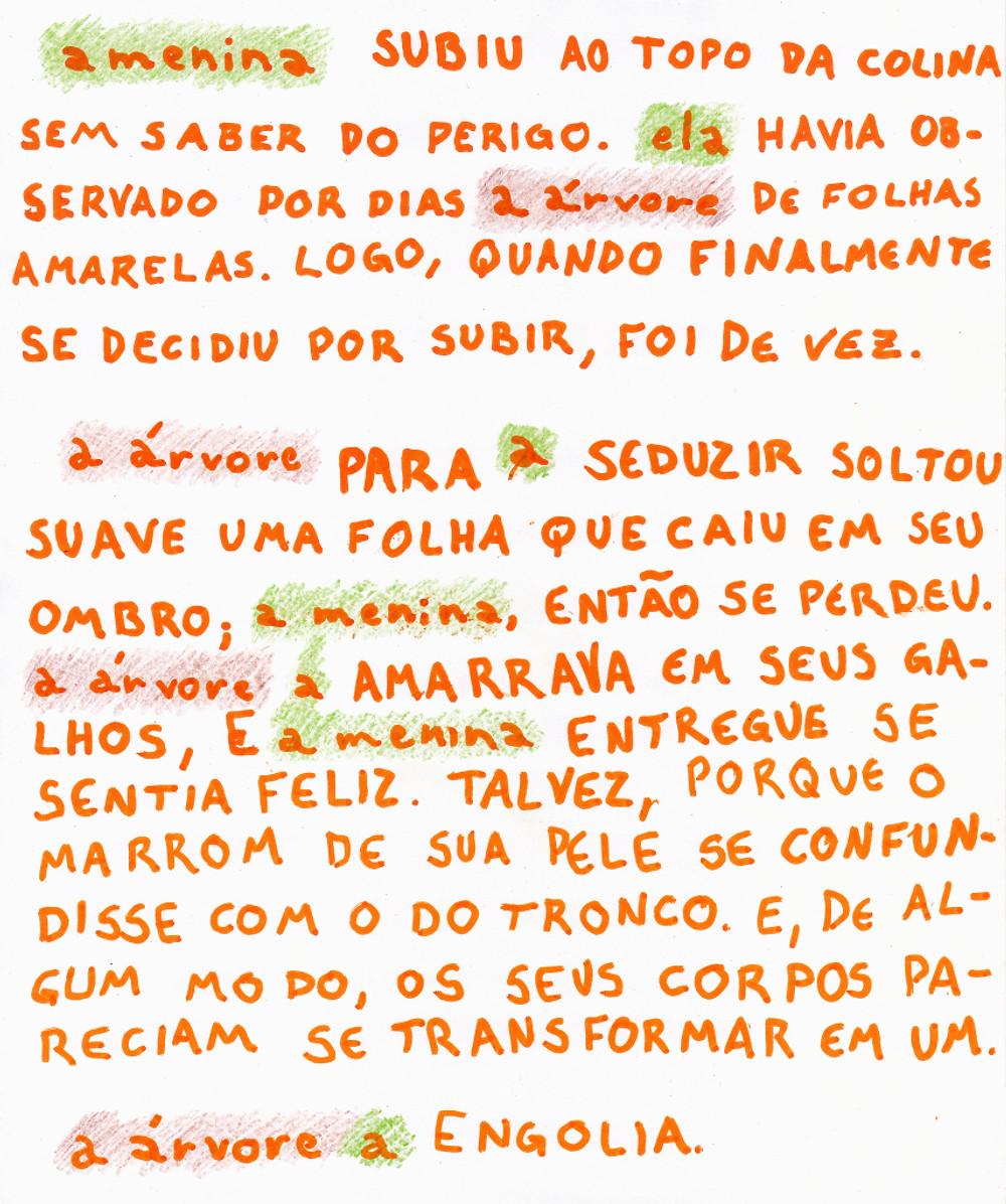 Folha com texto manuscrito de versão do conto a menina e a árvore