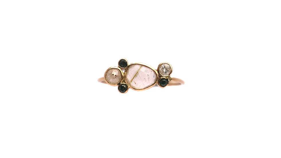 Bague sable & diamants – Quartz rutile