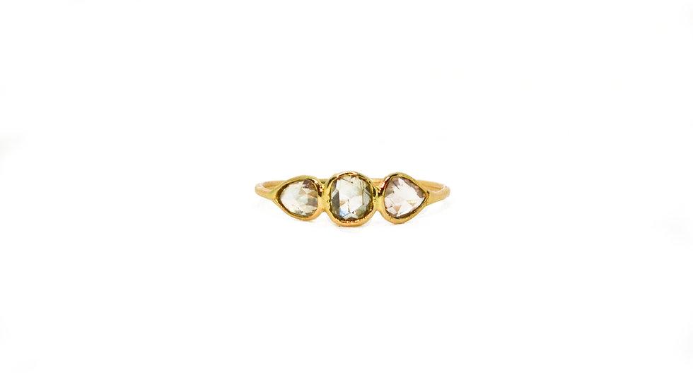 Bague lumière - 3 diamants taille rose