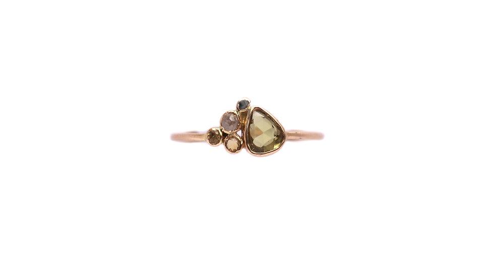 Bague sable & diamants –Saphir vert et orange