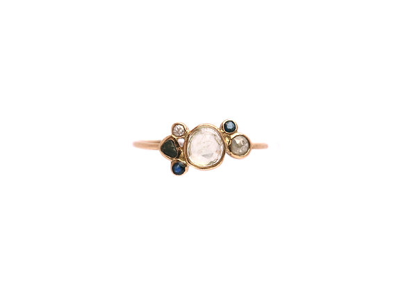 Bague sable & diamants – Saphir et tourmaline
