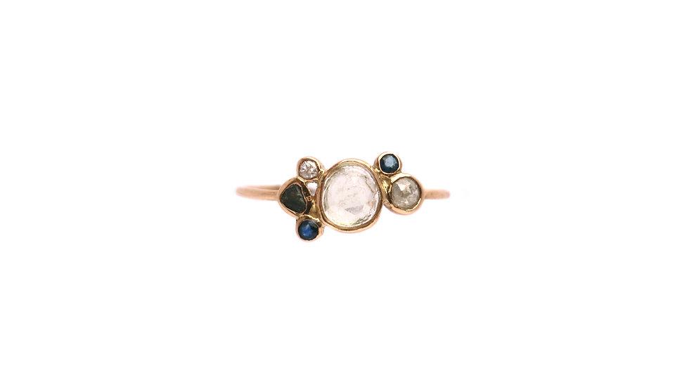 Bague sable & diamants – Saphir et tourmaline