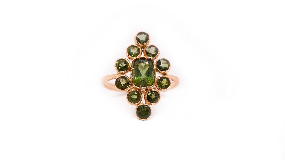 Bague héritage - Tourmaline verte et or 18 carat