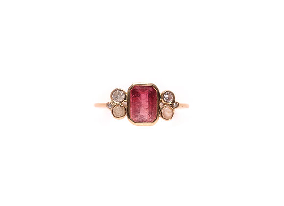 Bague sable & diamants – Tourmaline rose rubellite