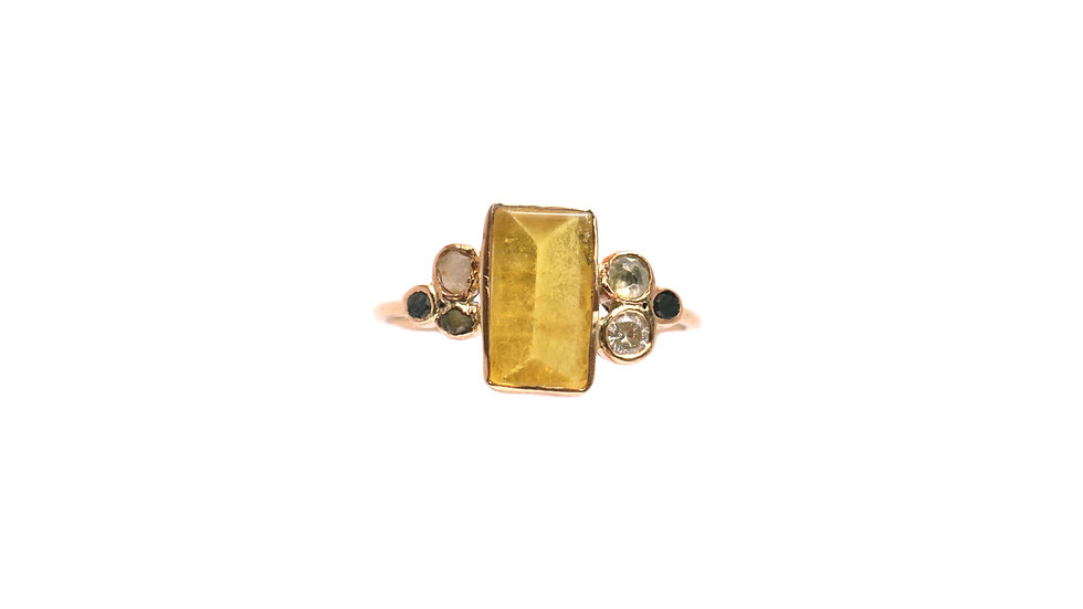 Bague sable & diamants – Tourmaline jaune