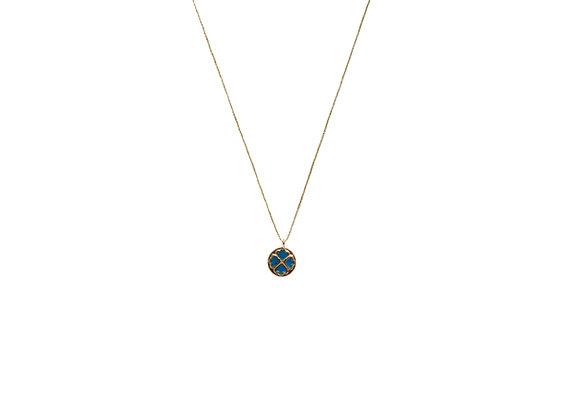 Collier héritage – Motif matisse émaillé bleu