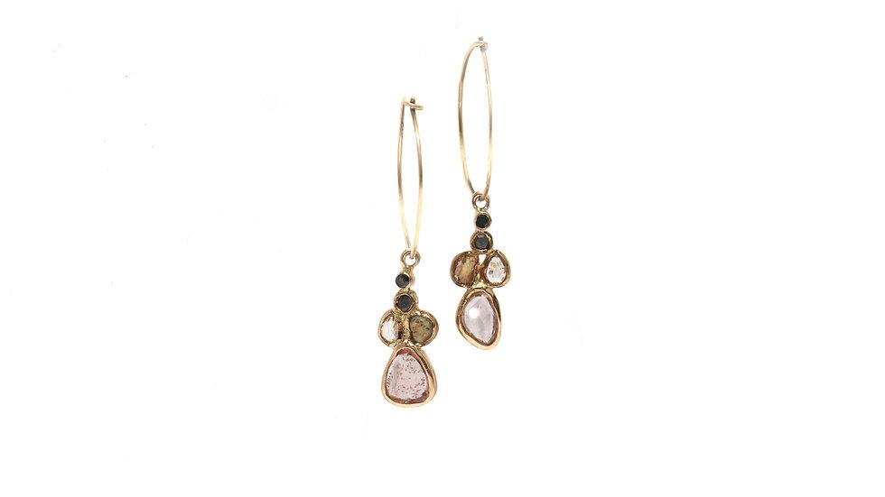 Boucles d'oreilles sable et diamants – saphir rose