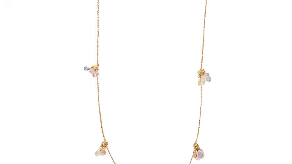 Collier matissage - Bouquet de mini saphirs de couleurs