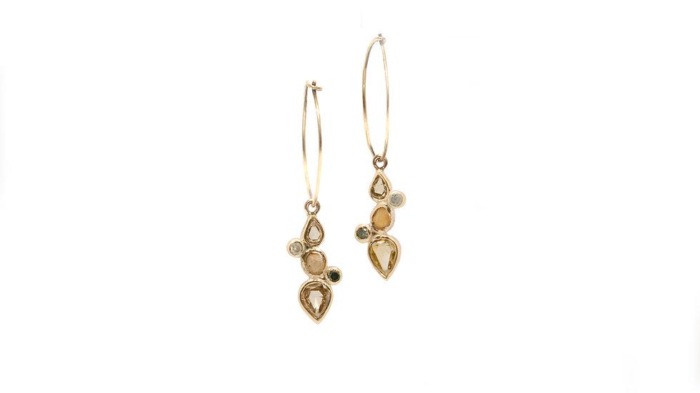 Boucle d'oreilles sable & diamants