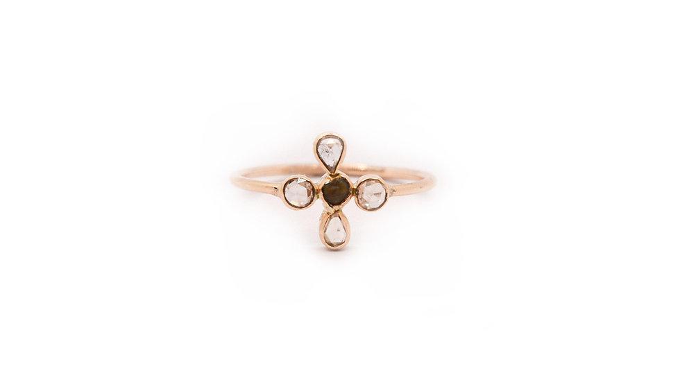 Bague lumière - 4 diamants taille rose et grain de sable