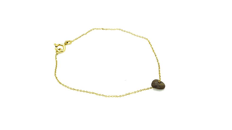 Bracelet galet - Petit galet et chaine or