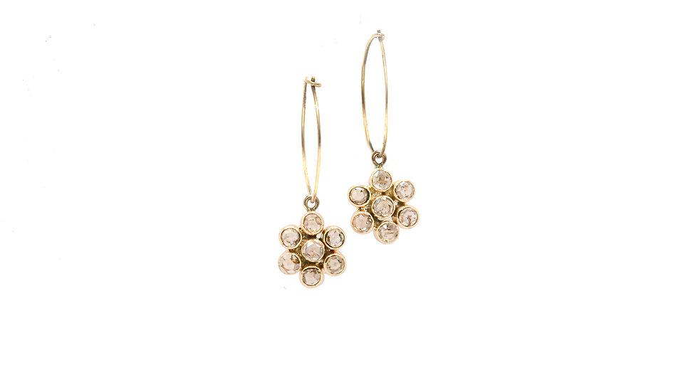 Boucles d'oreilles lumière - Etoiles de diamants taille rose
