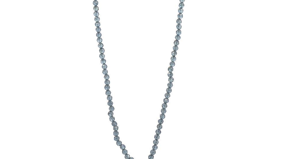 Collier mer - Pampille or, bille d'aigue-marine et perles d'aigues-marines