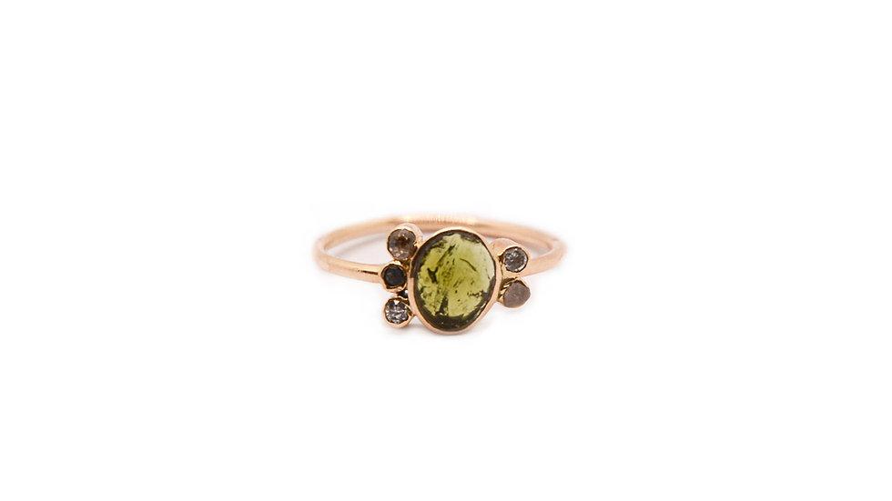 Bague sable & diamants - Tourmaline verte et diamants