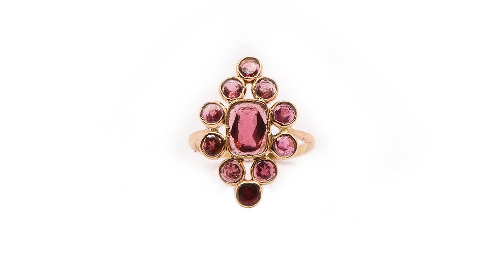 Bague héritage - Tourmaline rose et or 18 carat