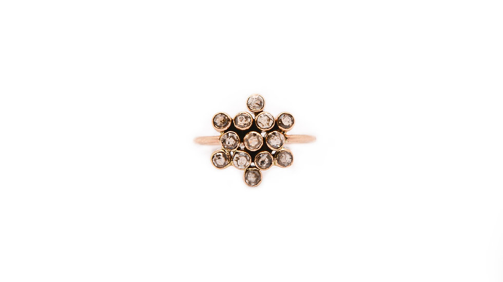 Bague lumière – Diamant taille rose et or 14 carat – Petit modèle