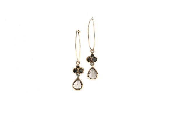 Boucles d'oreilles sable & diamants