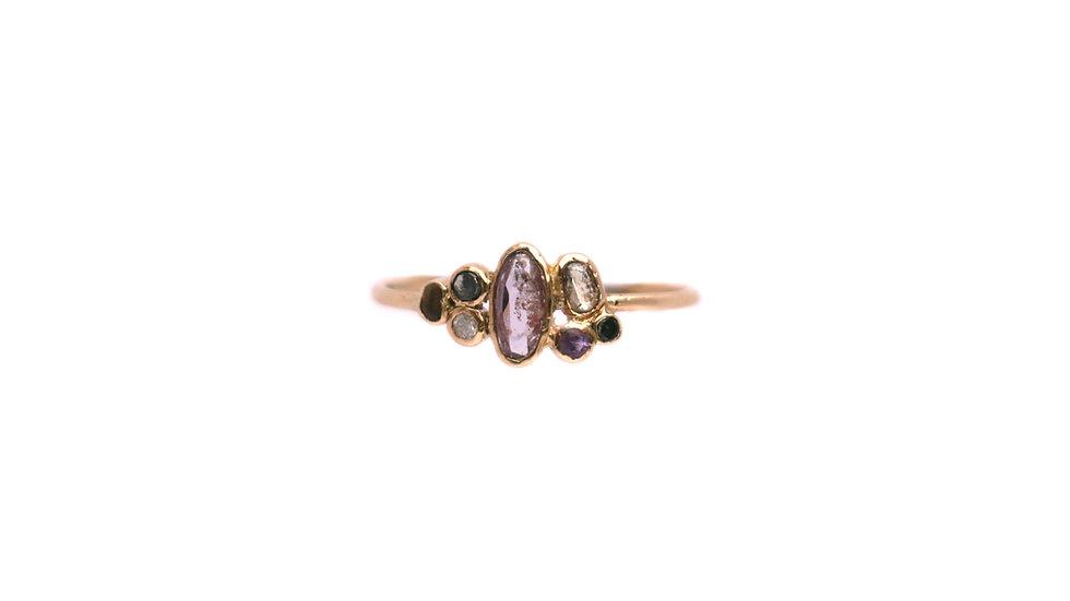 Bague sable & diamants – Saphir rose