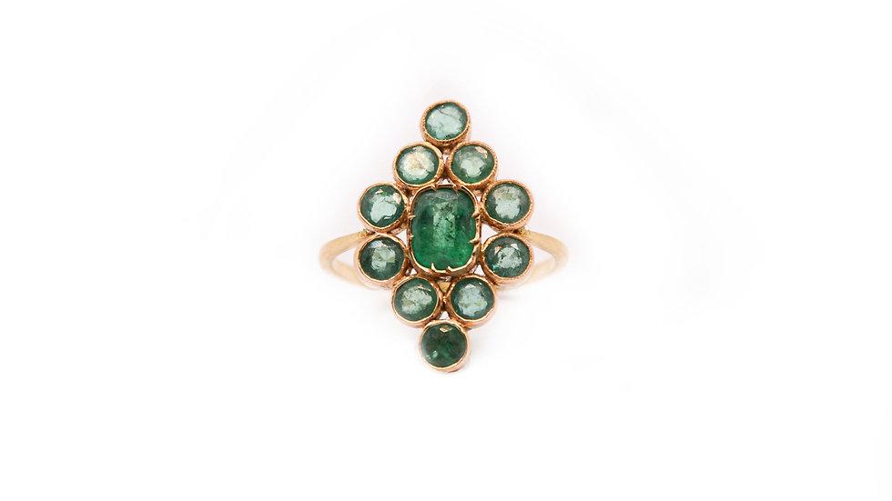 Bague héritage - Emeraude et or 18 carat