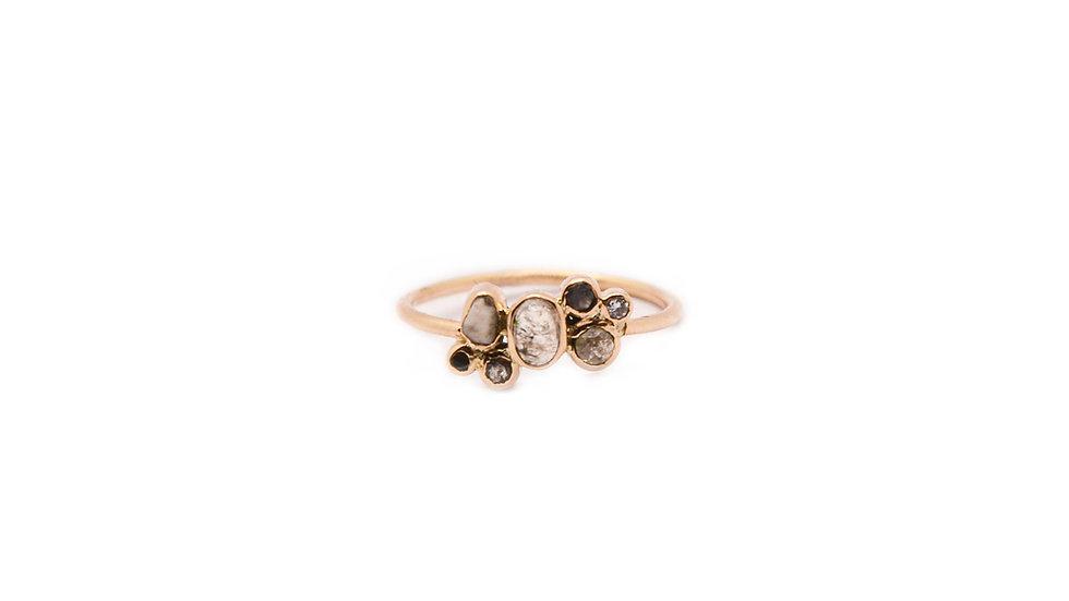 Bague sable & diamants - Tourmaline grise pâle et diamants