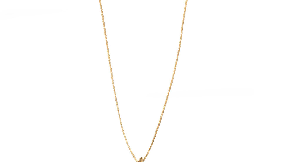 Collier galet - Petit galet avec pampille or