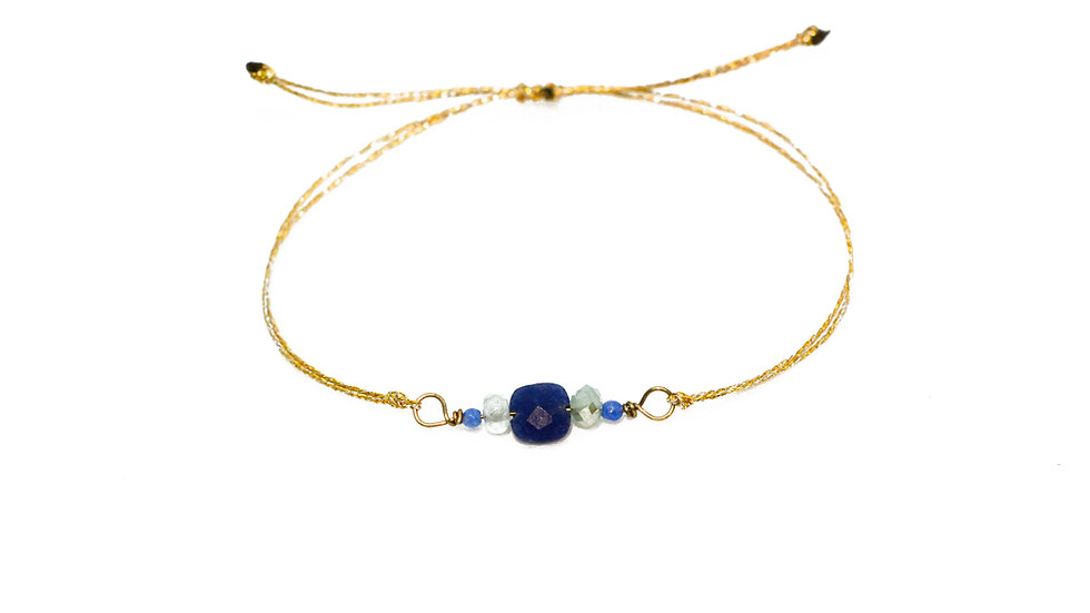 Bracelet mer - Lapis lazuli, chrysoprase et turquoise