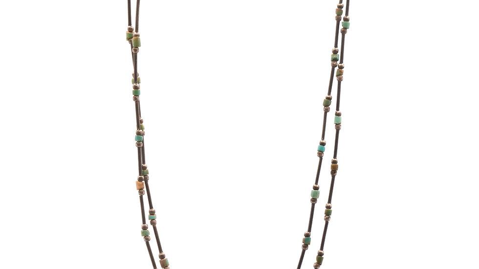 Collier mer - Collier népalais ancien perles en hématite et turquoise