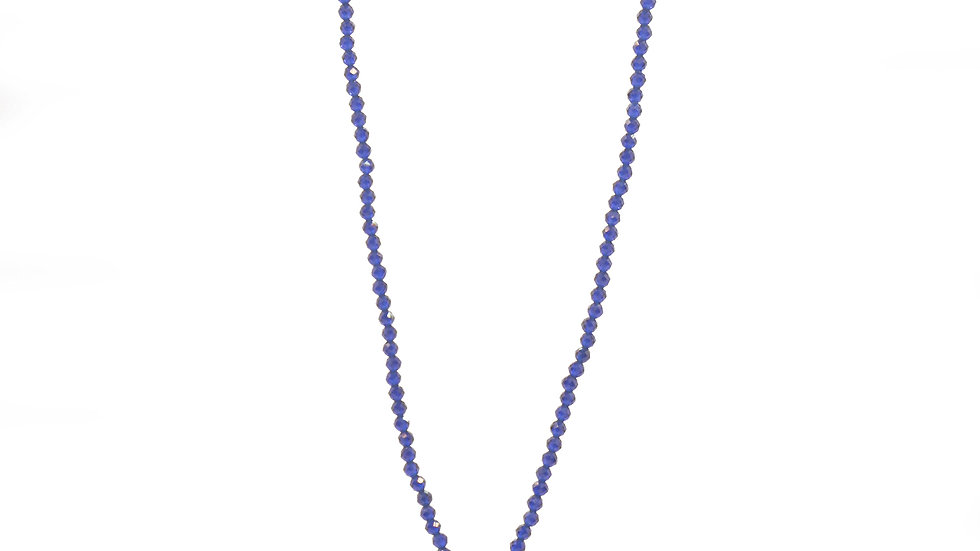 Collier mer - Tourmaline, pampille or et perles lapis lazuli